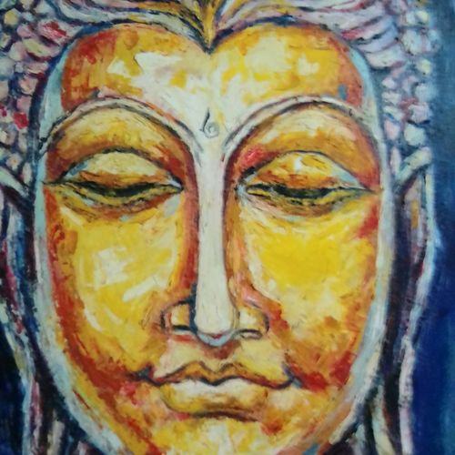 golden lord buddha, 24 x 30 inch, ivelina sharma,paintings,love paintings,paintings for dining room,paintings for living room,paintings for bedroom,paintings for office,canvas,oil,24x30inch,GAL0621414592