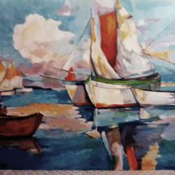 at the harbour, 36 x 48 inch, ivelina sharma,paintings,abstract paintings,landscape paintings,modern art paintings,nature paintings,paintings for dining room,paintings for living room,paintings for bedroom,paintings for office,canvas,oil,36x48inch,GAL0621414593Nature,environment,Beauty,scenery,greenery