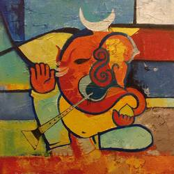 ganesha, 30 x 36 inch, nishant mishra,paintings,figurative paintings,modern art paintings,religious paintings,art deco paintings,ganesha paintings,paintings for dining room,paintings for living room,paintings for office,paintings for hotel,paintings for school,paintings for hospital,canvas,acrylic color,30x36inch,GAL0538614605,vinayak,ekadanta,ganpati,lambodar,peace,devotion,religious,lord ganesha,lordganpati