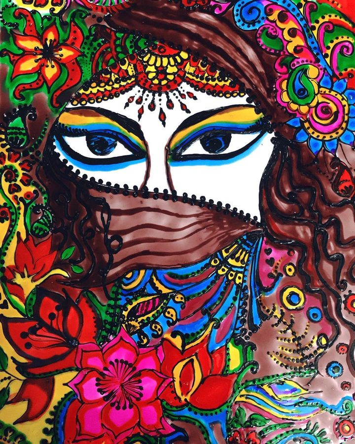 deep eyes , 8 x 11 inch, chitra rohit,portrait paintings,thick paper,glass,8x11inch,GAL0188714608