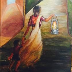 mother who shows the right path, 30 x 36 inch, aditi mangla,paintings for hotel,paintings for hotel,figurative paintings,canvas,oil,30x36inch,GAL0626114613