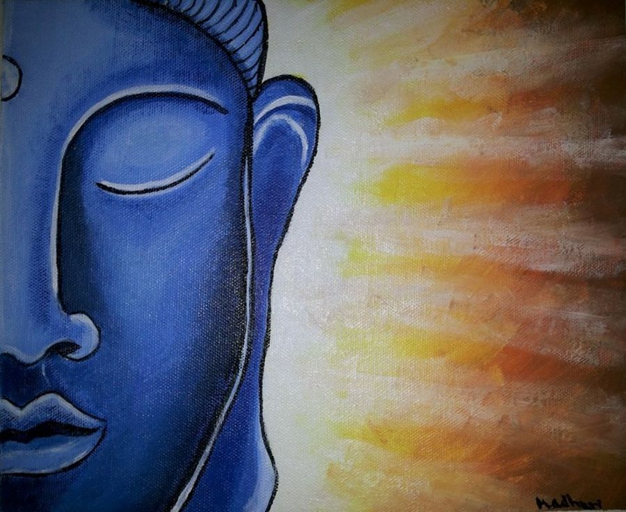 gautam buddha - the enlightened, 8 x 10 inch, madhuri jagarlapudi,buddha paintings,paintings for living room,paintings for office,canvas,acrylic color,8x10inch,religious,peace,meditation,meditating,gautam,goutam,buddha,blue,GAL06011462