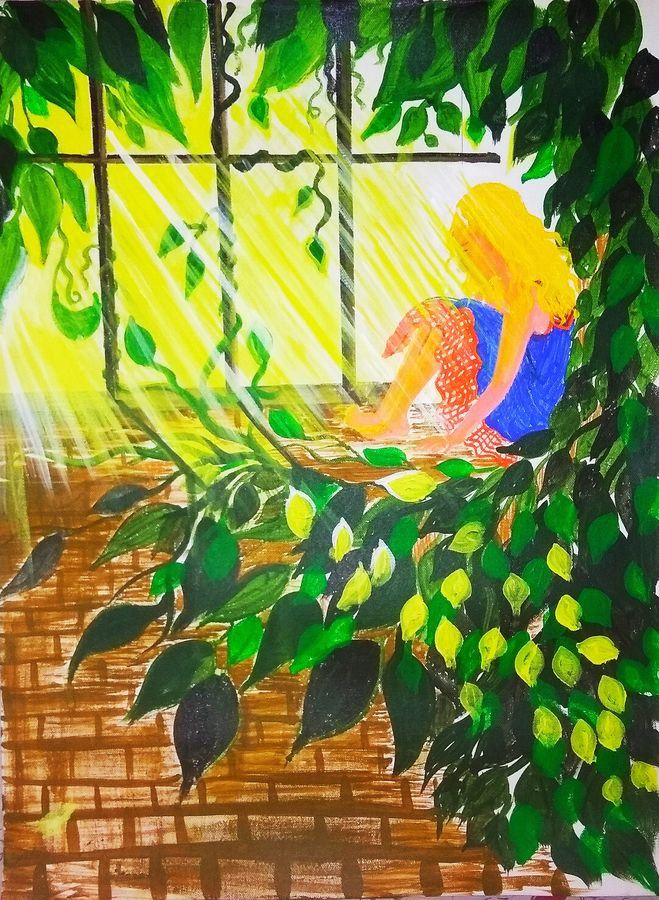 light through my window, 18 x 21 inch, nilofar wasim,paintings,flower paintings,conceptual paintings,nature paintings,children paintings,paintings for dining room,paintings for living room,paintings for bedroom,paintings for kids room,paintings for hotel,paintings for school,paintings for hospital,canvas,acrylic color,18x21inch,GAL0545714624Nature,environment,Beauty,scenery,greenery,leaf,girl,sun-rays