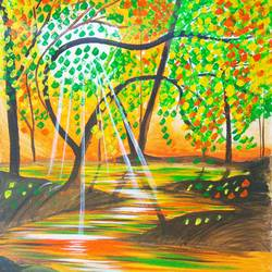 light through the woods, 18 x 21 inch, nilofar wasim,paintings,conceptual paintings,nature paintings,paintings for dining room,paintings for living room,paintings for bedroom,paintings for office,paintings for kids room,paintings for hotel,paintings for hospital,canvas,acrylic color,18x21inch,GAL0545714625Nature,environment,Beauty,scenery,greenery,tree,leaf,water,sun-rays,leaves