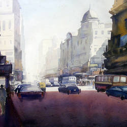 city at early morning, 30 x 22 inch, samiran sarkar,cityscape paintings,photorealism paintings,realism paintings,contemporary paintings,paintings for dining room,paintings for living room,paintings for bedroom,paintings for office,paintings for hotel,paper,watercolor,30x22inch,GAL0574914631