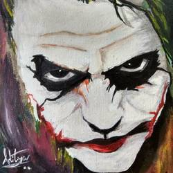 the joker, 10 x 12 inch, aditya  prashant ,paintings,abstract paintings,portraiture,paintings for bedroom,paintings for kids room,canvas board,acrylic color,10x12inch,GAL0627714634