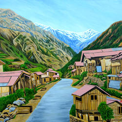 landscape sikkim i, 48 x 36 inch, ajay harit,paintings,landscape paintings,nature paintings,realism paintings,realistic paintings,paintings for dining room,paintings for living room,paintings for office,paintings for hotel,paintings for dining room,paintings for living room,paintings for office,paintings for hotel,canvas,oil,48x36inch,GAL0199814635Nature,environment,Beauty,scenery,greenery,mountain,tree,house,water,lake,houses