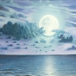 moonlit ocean, 24 x 18 inch, srirup choudhary,paintings,landscape paintings,nature paintings,canvas,oil,24x18inch,GAL0629614643Nature,environment,Beauty,scenery,greenery