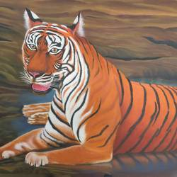 machli - the royal bengal tigress , 36 x 24 inch, srirup choudhary,paintings,wildlife paintings,canvas,oil,36x24inch,GAL0629614644