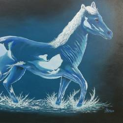 the glass horse, 40 x 30 inch, srirup choudhary,paintings,illustration paintings,photorealism,horse paintings,canvas,oil,40x30inch,GAL0629614647