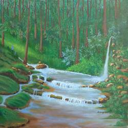 fountain in paradise, 24 x 20 inch, srirup choudhary,paintings,landscape paintings,nature paintings,photorealism paintings,realism paintings,realistic paintings,canvas,oil,24x20inch,GAL0629614648Nature,environment,Beauty,scenery,greenery