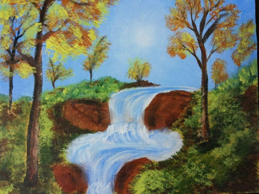 waterfall, 8 x 10 inch, madhuri jagarlapudi,landscape paintings,paintings for office,canvas,acrylic color,8x10inch,GAL06011465