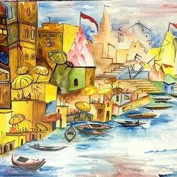 varanasi ghat, 29 x 21 inch, seema agrawal,paintings,cityscape paintings,landscape paintings,realistic paintings,paintings for dining room,paintings for living room,paintings for hotel,paintings for school,paintings for dining room,paintings for living room,paintings for hotel,paintings for school,ivory sheet,poster color,watercolor,29x21inch,GAL0185914654