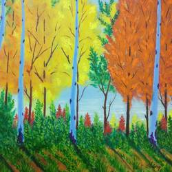 the aspen beauty, 24 x 18 inch, srirup choudhary,paintings,landscape paintings,nature paintings,illustration paintings,realistic paintings,paintings for living room,paintings for hotel,paintings for school,canvas,oil,24x18inch,GAL0629614656Nature,environment,Beauty,scenery,greenery
