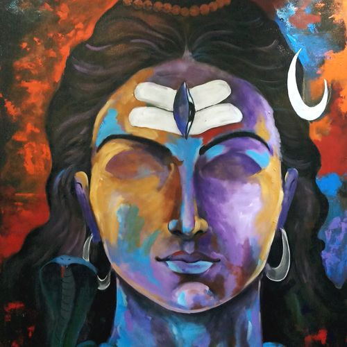 shiva, 36 x 42 inch, arjun das,religious paintings,lord shiva paintings,canvas,acrylic color,36x42inch,GAL011214665
