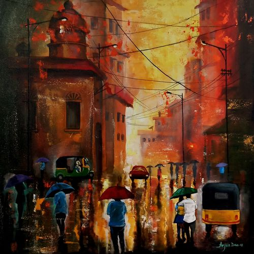 rainy day 9, 30 x 30 inch, arjun das,paintings,cityscape paintings,canvas,acrylic color,30x30inch,GAL011214666