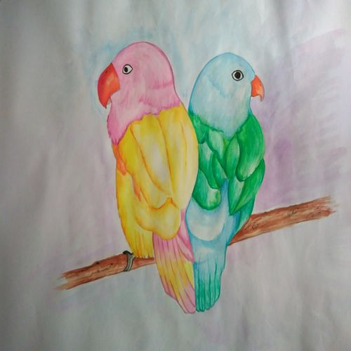 birds, 15 x 11 inch, asmita tiwari,paintings,nature paintings,love paintings,paintings for living room,paintings for bedroom,paintings for kids room,drawing paper,watercolor,15x11inch,GAL0603314677heart,family,caring,happiness,forever,happy,trust,passion,romance,sweet,kiss,love,hugs,warm,fun,kisses,joy,friendship,marriage,chocolate,husband,wife,forever,caring,couple,sweetheartNature,environment,Beauty,scenery,greenery