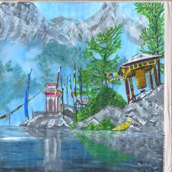 snow view, 16 x 12 inch, manoj tripathi,paintings,landscape paintings,paper,acrylic color,16x12inch,GAL0617614678