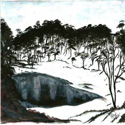 nature, 10 x 6 inch, manoj tripathi,paintings,nature paintings,paper,acrylic color,10x6inch,GAL0617614680Nature,environment,Beauty,scenery,greenery,tree,snow,trees,water,sky,beautiful