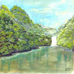 nature, 10 x 6 inch, manoj tripathi,nature paintings,water fountain paintings,paper,acrylic color,10x6inch,GAL0617614681Nature,environment,Beauty,scenery,greenery