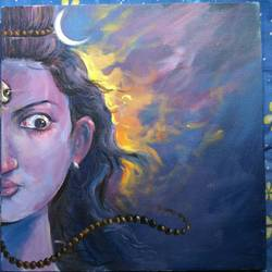shiva, 16 x 16 inch, bijoy  bhattacharjee,religious paintings,paintings for living room,lord shiva paintings,canvas,acrylic color,16x16inch,GAL0632714684