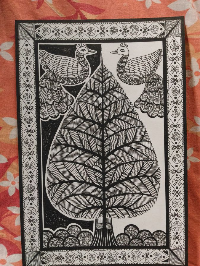 life of tree, 8 x 4 inch, bijoy  bhattacharjee,paintings,folk art paintings,paintings for living room,paintings for living room,ivory sheet,pen color,8x4inch,GAL0632714685