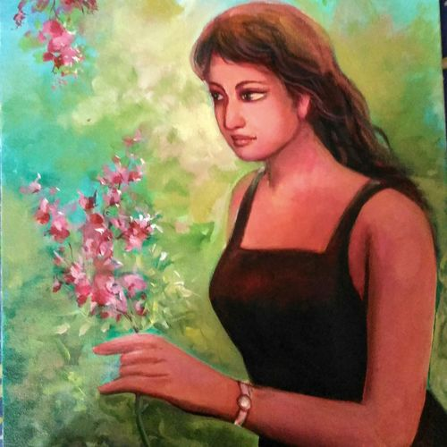 girl in the garden, 16 x 20 inch, bijoy  bhattacharjee,paintings,conceptual paintings,paintings for living room,paintings for living room,canvas,acrylic color,16x20inch,GAL0632714687