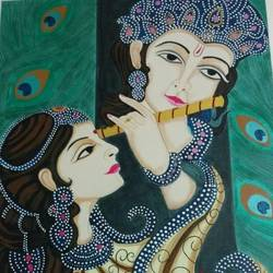 melodious divinity, 24 x 30 inch, j.k  chhatwal,radha krishna paintings,canvas,acrylic color,24x30inch,GAL0537814692,radha,krishna,love,flute,music,loveradha,lordkrishna,