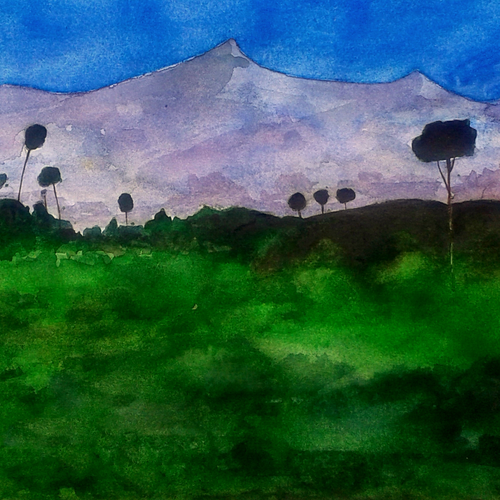 snow mountain , 11 x 16 inch, girish chandra vidyaratna,landscape paintings,paintings for dining room,paper,watercolor,11x16inch,GAL036147