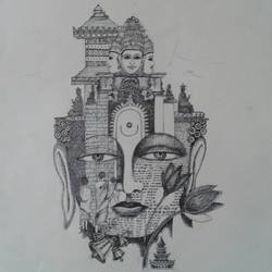 buddha is everywhere , 14 x 14 inch, soniya  gupta ,buddha drawings,paintings for hotel,ivory sheet,ink color,ball point pen,14x14inch,GAL0633514704