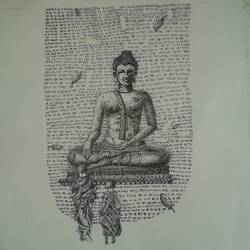 teaching buddha , 14 x 14 inch, soniya  gupta ,paintings for living room,buddha drawings,paintings for living room,handmade paper,ink color,pen color,ball point pen,14x14inch,GAL0633514705