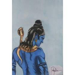mahadev , 5 x 7 inch, priyanka mehta,modern art paintings,religious paintings,portrait paintings,illustration paintings,paintings for living room,paintings for hotel,paintings for living room,paintings for hotel,lord shiva paintings,brustro watercolor paper,watercolor,5x7inch,GAL0631314708