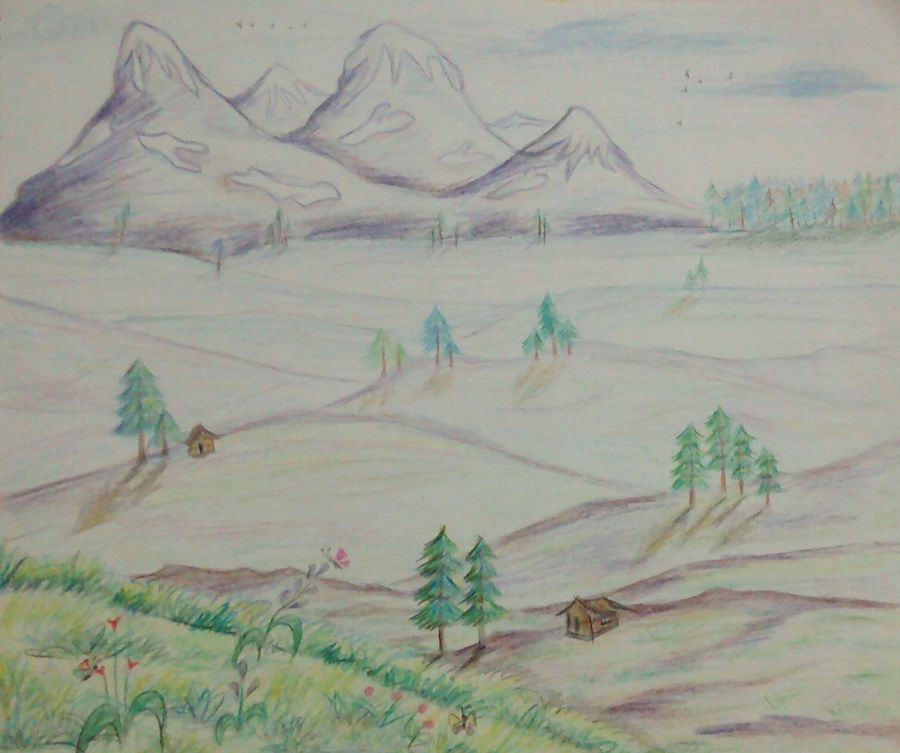 peaceful mountain valley, 12 x 11 inch, samyukta s,landscape paintings,paintings for living room,thick paper,pencil color,12x11inch,GAL06071471