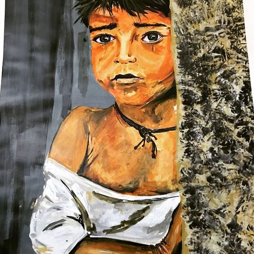 the unfortunate kid, 20 x 30 inch, neeraj  singh kamal,paintings,portrait paintings,paintings for dining room,paintings for living room,paintings for bedroom,paintings for office,paintings for kids room,paintings for hotel,paintings for hospital,paintings for dining room,paintings for living room,paintings for bedroom,paintings for office,paintings for kids room,paintings for hotel,paintings for hospital,ohp plastic sheets,acrylic color,20x30inch,GAL0634114710
