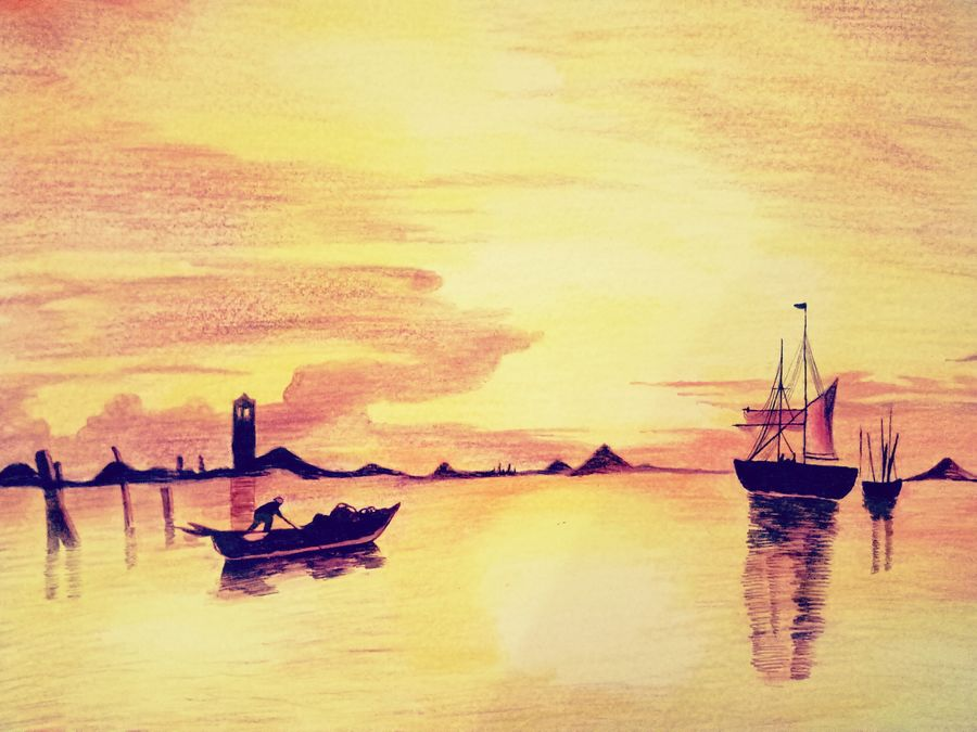 sunset scenery , 12 x 17 inch, utkarsh khare,landscape paintings,nature paintings,paintings for dining room,paintings for living room,paintings for bedroom,paintings for office,paintings for kids room,paintings for hotel,paintings for dining room,paintings for living room,paintings for bedroom,paintings for office,paintings for kids room,paintings for hotel,paper,oil,pastel color,pencil color,watercolor,12x17inch,GAL0606114712Nature,environment,Beauty,scenery,greenery,water,boat,sunset,lighthouse,shadow