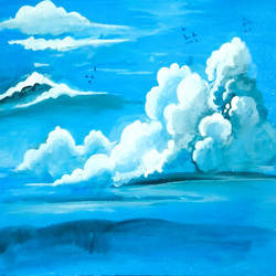 cloud 9, 14 x 18 inch, nilofar wasim,paintings for bathroom,paintings for dining room,paintings for living room,paintings for bedroom,paintings for office,paintings for hotel,paintings for school,paintings for hospital,abstract paintings,nature paintings,canvas board,acrylic color,14x18inch,GAL0545714718Nature,environment,Beauty,scenery,greenery