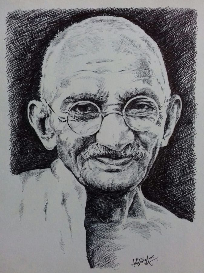mahatma gandhi pen drwing, 12 x 18 inch, santanu sen,drawings,portrait drawings,paintings for living room,paintings for office,paintings for kids room,paintings for hotel,paintings for school,paintings for hospital,thick paper,ball point pen,12x18inch,GAL0193914719