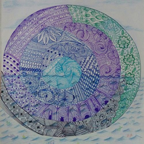 the blue world, 12 x 11 inch, samyukta s,abstract paintings,paintings for office,thick paper,pen color,12x11inch,GAL06071472
