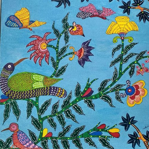 gond art work, 16 x 20 inch, vijita pillai,folk art paintings,art deco paintings,paintings for living room,paintings for kids room,paintings for hotel,paintings for living room,paintings for kids room,paintings for hotel,gond painting.,canvas,acrylic color,16x20inch,GAL0230314723