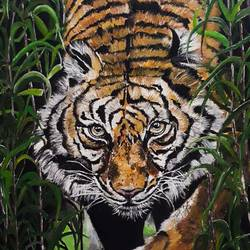 tiger 16 x 20 inch by sarmistha guha,16x20inch,GAL0635414726,tiger,national animal,grass,jungle