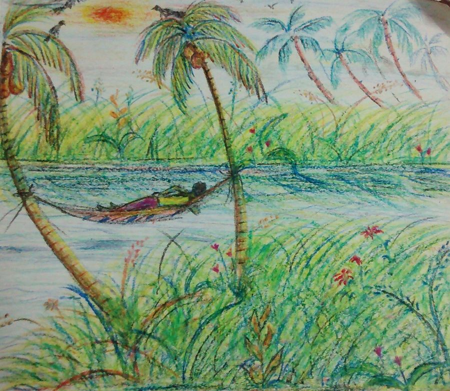 enjoying the back waters , 12 x 11 inch, samyukta s,landscape paintings,paintings for dining room,thick paper,pastel color,12x11inch,GAL06071473