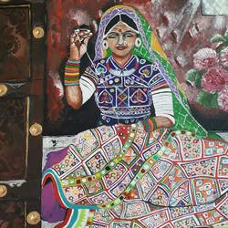 an indian woman artisan stitching quilt., 18 x 24 inch, sarmistha guha,paintings,figurative paintings,paintings for dining room,paintings for living room,paintings for bedroom,paintings for hotel,paintings for dining room,paintings for living room,paintings for bedroom,paintings for hotel,canvas,acrylic color,18x24inch,GAL0635414730