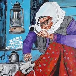 tea vendor, 18 x 24 inch, sarmistha guha,paintings,figurative paintings,paintings for dining room,paintings for living room,paintings for bedroom,paintings for hotel,paintings for kitchen,canvas,acrylic color,18x24inch,GAL0635414731