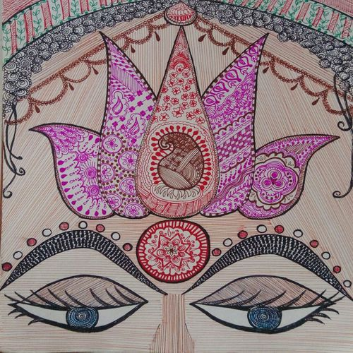 the calming eyes, 12 x 11 inch, samyukta s,abstract paintings,paintings for office,thick paper,pen color,12x11inch,GAL06071474