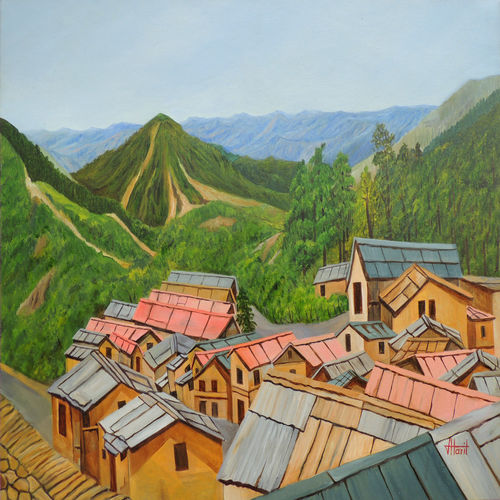 in the lap of nature, 40 x 30 inch, ajay harit,paintings for bathroom,paintings for dining room,paintings for living room,paintings for office,paintings for hotel,paintings for school,paintings for hospital,landscape paintings,canvas,oil,40x30inch,GAL0199814748
