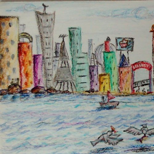 city by the beach, 12 x 11 inch, samyukta s,cityscape paintings,paintings for living room,thick paper,pencil color,12x11inch,GAL06071476