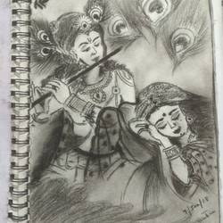 the divine love.., 5 x 9 inch, shabnam mishra,drawings,abstract drawings,paintings for office,thick paper,charcoal,5x9inch,GAL0637914760