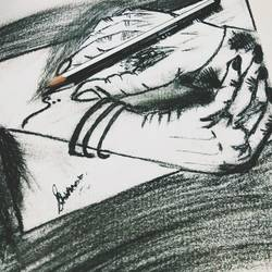 i was holding u while u we're creating me.., 9 x 10 inch, shabnam mishra,drawings,conceptual drawings,paintings for bedroom,thick paper,charcoal,9x10inch,GAL0637914763