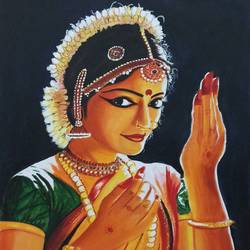 bharathanatiyam dancer, 18 x 24 inch, sandhya kumari,paintings,figurative paintings,modern art paintings,expressionist paintings,photorealism paintings,realistic paintings,paintings for dining room,paintings for living room,paintings for bedroom,paintings for office,paintings for kids room,paintings for hotel,paintings for school,canvas,acrylic color,18x24inch,GAL0365914765