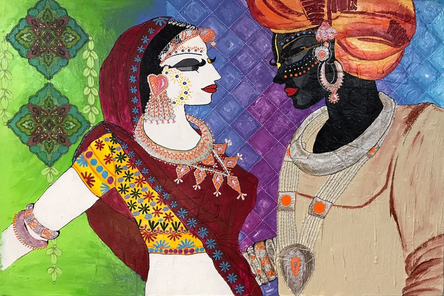 original endearment canvas  by artist payal agrawal, 32 x 41 inch, payal agrawal,paintings,abstract paintings,figurative paintings,modern art paintings,conceptual paintings,portrait paintings,abstract expressionist paintings,art deco paintings,expressionist paintings,impressionist paintings,surrealist paintings,radha krishna paintings,contemporary paintings,love paintings,paintings for dining room,paintings for living room,paintings for bedroom,paintings for office,paintings for hotel,paintings for school,paintings for hospital,paintings for dining room,paintings for living room,paintings for bedroom,paintings for office,paintings for hotel,paintings for school,paintings for hospital,canvas,acrylic color,ink color,mixed media,photo ink,32x41inch, Radhakrishna, love, lord, Radha, Krishna, romance, couple, religious,GAL0638214768heart,family,caring,happiness,forever,happy,trust,passion,romance,sweet,kiss,love,hugs,warm,fun,kisses,joy,friendship,marriage,chocolate,husband,wife,forever,caring,couple,sweetheart,krishna,Lord krishna,krushna,radha krushna,flute,peacock feather,melody,peace,religious,god,love